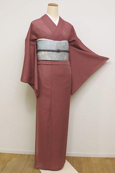 銀座【C-1667】きもの英製 絽 染一ッ紋 色無地 蘇芳香色