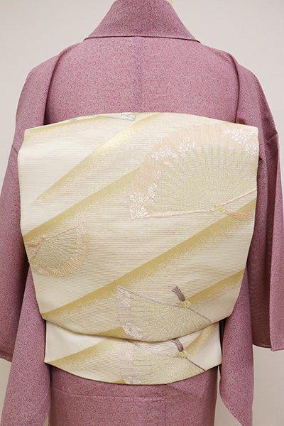 あおき【K-6202】絽 織名古屋帯 鳥の子色 扇子の図