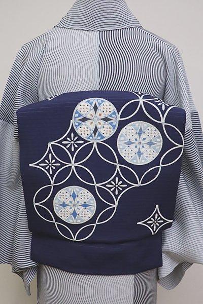 銀座【K-6206】絽塩瀬 染名古屋帯 濃藍色 装飾七宝文(N)