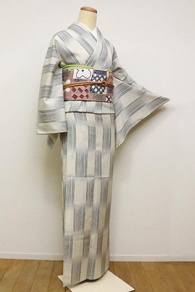 銀座【A-2862】単衣 御召 白練色×青褐色 市松絣(しつけ付・反端付)(N)