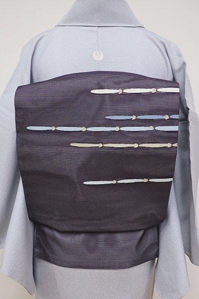 銀座【K-6212】絽 織名古屋帯 濃鼠色 抽象文