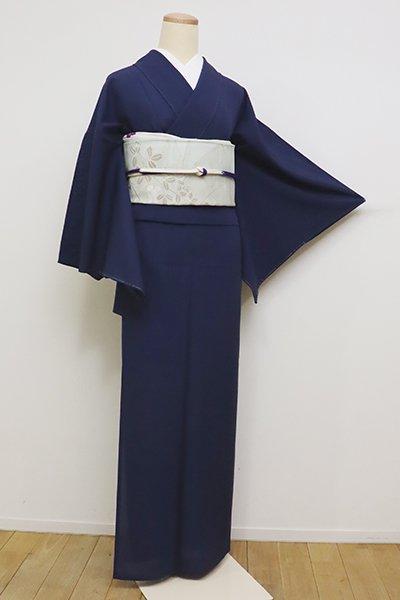 銀座【C-1670】(広め)絽 繍一ッ紋 色無地 濃藍色
