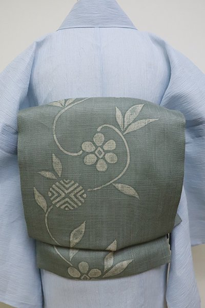あおき【K-6217】麻地 染名古屋帯 青白橡色 笹蔓文