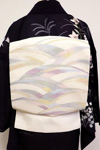 あおき【L-4560】絽 袋帯 生成り色 抽象文