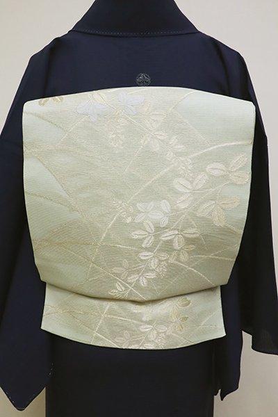 銀座【L-4561】紗 袋帯 白緑色 萩や芝の図