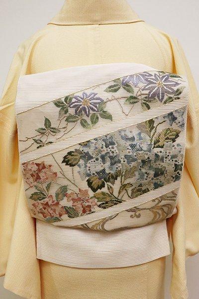WEB限定【L-4562】絽綴れ 袋帯 薄卵色 段に鉄線や紫陽花など