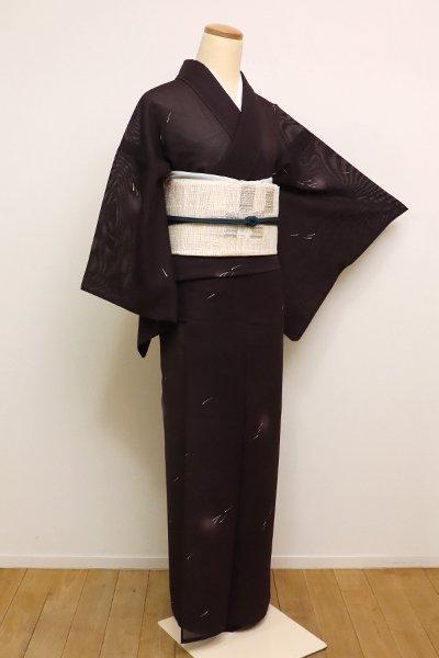 銀座【D-2315】(S)紋紗 小紋 暗い紫鳶色 蛍暈かしにメダカの図