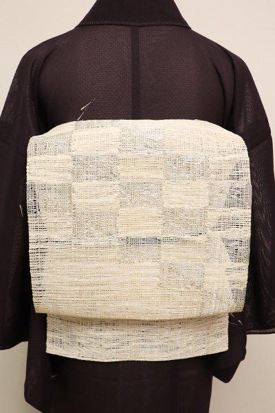 銀座【K-6219】紗紬 八寸名古屋帯 練色 市松文