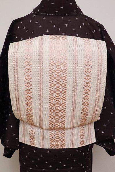銀座【K-6220】博多織 羅献上 八寸名古屋帯 練色×虹色