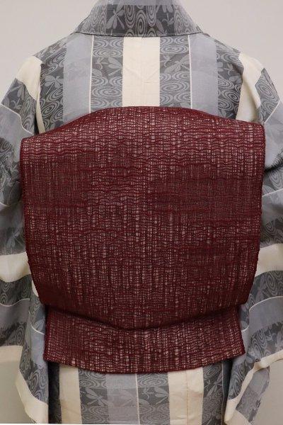 あおき【K-6221】粗紗 八寸名古屋帯 無地 葡萄茶色