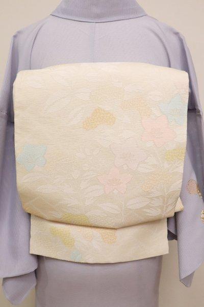 銀座【L-4566】西陣 織悦製 紗袋帯 練色 秋草文(落款入)