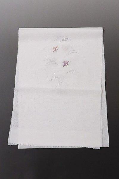 銀座【G-1327】京都衿秀 絽縮緬 刺繍 帯揚げ 淡い素色×薄桜色×白藤色 波千鳥の図