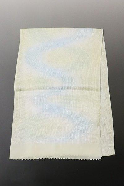 銀座【G-1331】京都衿秀 紋紗 帯揚げ 淡い淡黄色×水色 流水暈かし