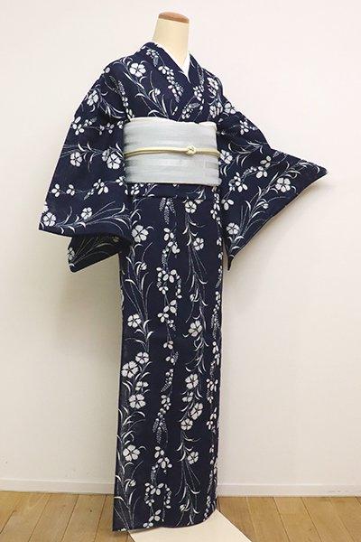 銀座【D-2316】綿絽 浴衣 藍色 萩に撫子の図 (しつけ付)