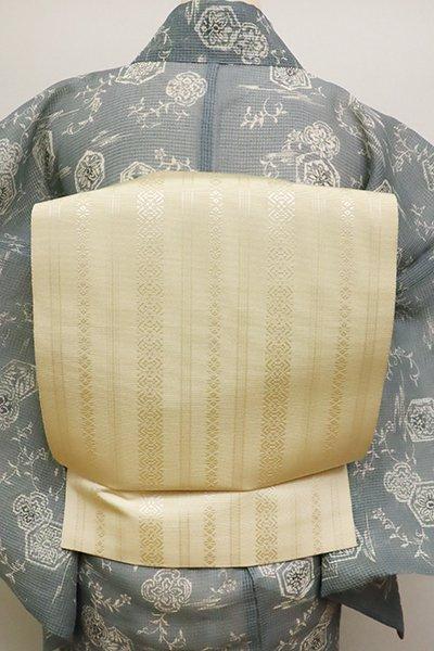 銀座【K-6225】博多織 八寸名古屋帯 薄黄色 献上柄
