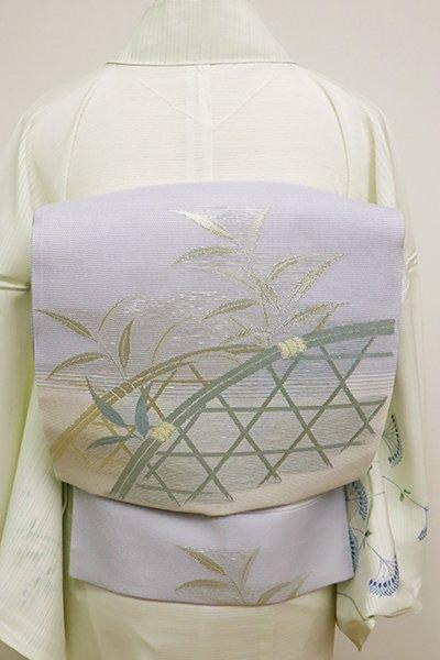 あおき【L-4567】西陣製 絽袋帯 蛇籠に葦の図 (証紙付)