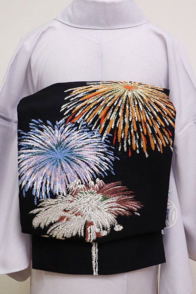 銀座【L-4568】西陣製 絽袋帯 黒色 花火の図 (証紙付)