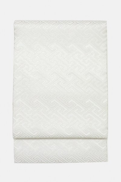 銀座【帯3067】西陣 織楽浅野製 名古屋帯 白色 工字繋ぎ (西陣証紙付・未使用)