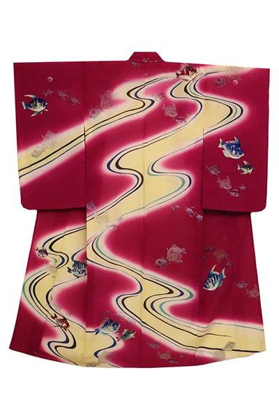 あおき【着物2528】アンティーク 繍三ッ紋 薄物訪問着 葡萄色 流水に魚の図