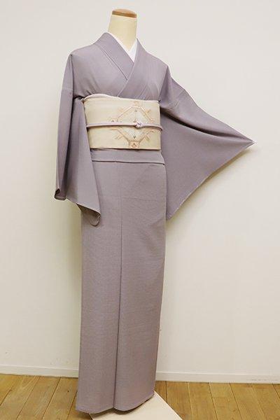銀座【C-1674】絽縮緬 繍一ッ紋 色無地 牡丹鼠色