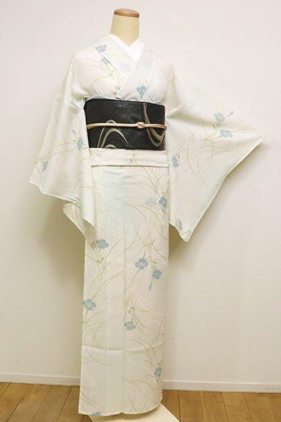 あおき【D-2319】絽 小紋 淡い鳥の子色×白緑色 芝に花の図