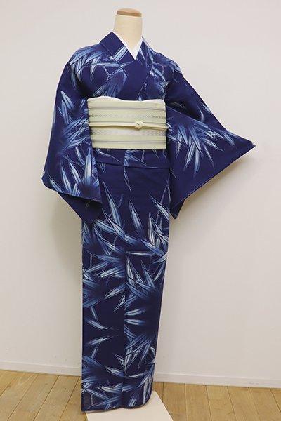 あおき【D-2320】綿絽 浴衣 紺色 笹の図(しつけ付・ゑり華扱い)