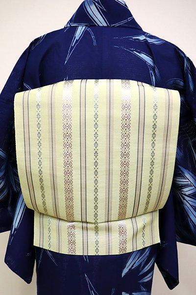 銀座【K-6230】博多織 紗献上 八寸名古屋帯 若芽色×白藤色