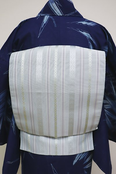 銀座【K-6231】本場筑前博多織 紗献上 八寸名古屋帯 淡い秘色色 (証紙付)(N)