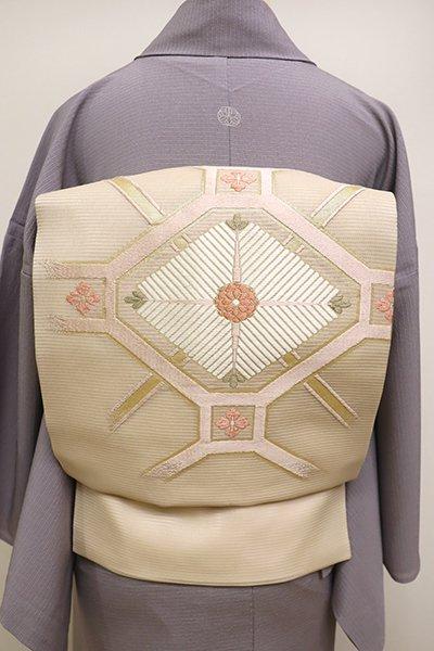 あおき【K-6233】絽 織名古屋帯 薄香色 蜀江に松菱