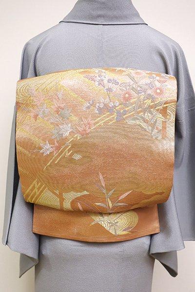 あおき【L-4572】紗 袋帯 淡い土器色 橋に雲や秋草の図