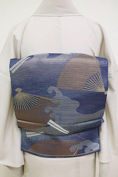 あおき【L-4573】西陣 織悦製 紗 袋帯 紺色 波に扇の図(落款入)