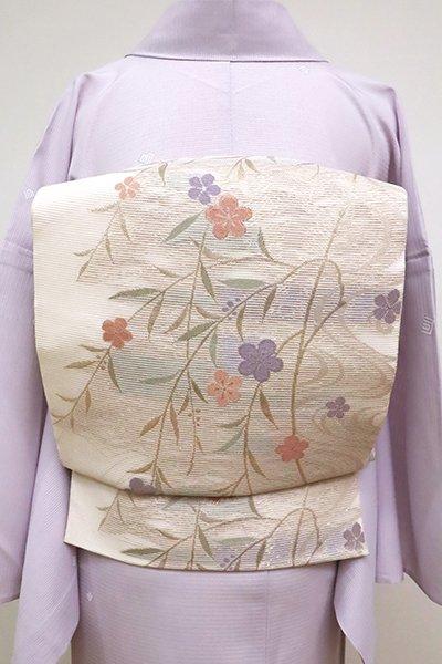 あおき【L-4575】絽 袋帯 淡い一斤染色 柳に桜の図