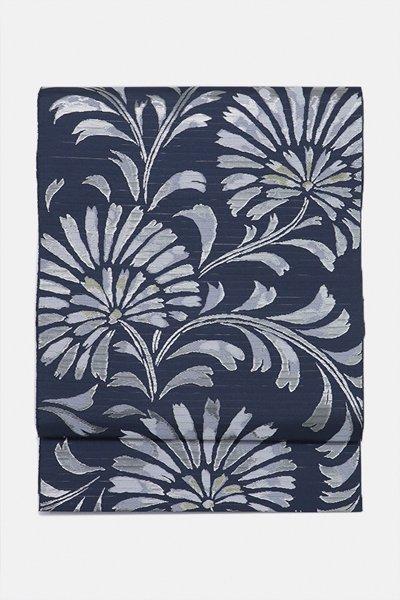 銀座【帯3078】西陣 服部織物製 絽袋帯 青褐色 花唐草文 (端布付)