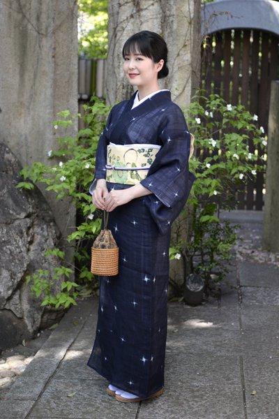 あおき【着物2531】上布 濃藍色 十字絣 (西武百貨店扱い)