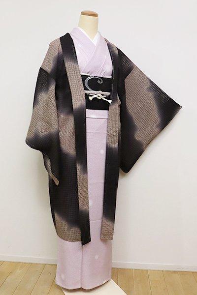 銀座【E-1084】紋紗 羽織 黒紅色×江戸鼠色 大雪輪文(しつけ付)