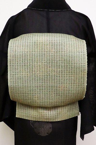 WEB限定【K-6241】粗紗 八寸名古屋帯 柳茶色系 暈かし