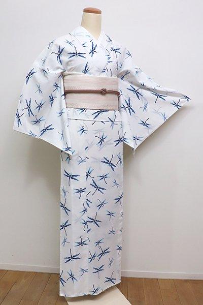 あおき【D-2325】竺仙製 綿コーマ 浴衣 白色×藍色 蜻蛉の図 (栞付き)