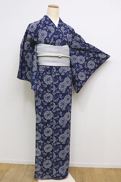 銀座【D-2326】(S)長板中形 綿絽 浴衣 濃藍色 枝垂桜に源氏車