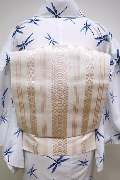 銀座【K-6247】博多織 紗献上 八寸名古屋帯 淡い灰梅色