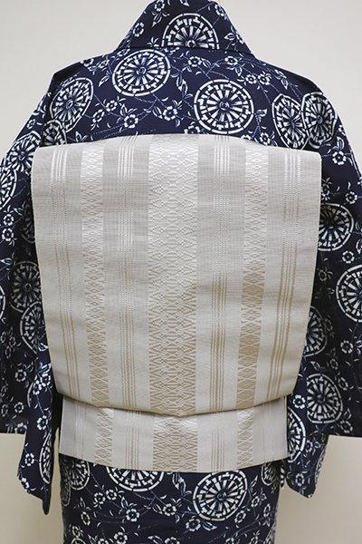 銀座【K-6249】博多織 紗献上 開き八寸名古屋帯 白鼠色