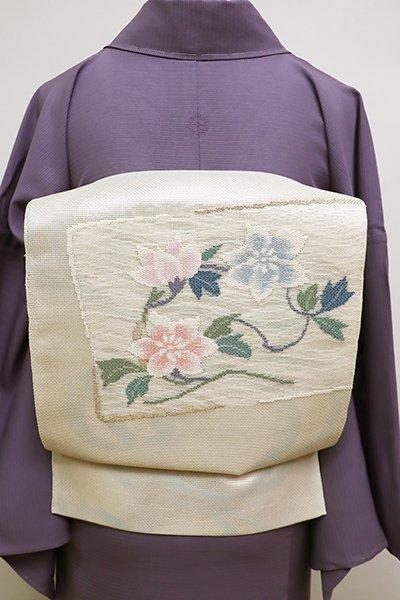 WEB限定【L-4576】西陣 まいづる製 紗 袋帯 薄卵色 鉄線の図(栞付)