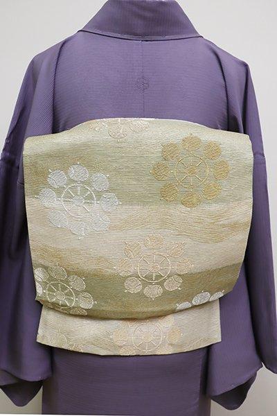 あおき【L-4579】絽 袋帯 練色×山葵色 横段に槌車