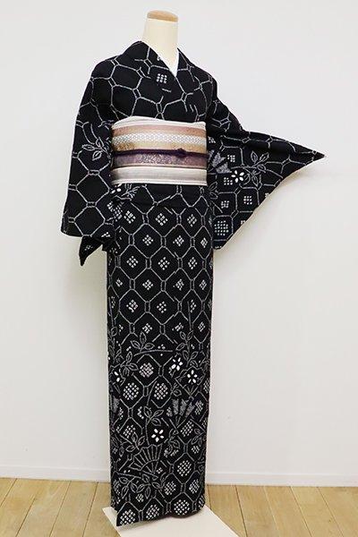 銀座【D-2328】(S)木綿 絞り染め 絵羽浴衣 黒色 蜀江文に扇など