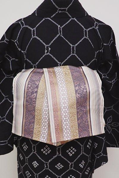 銀座【K-6251】博多織 半幅帯 灰梅色×葡萄鼠色 縞に花唐草など