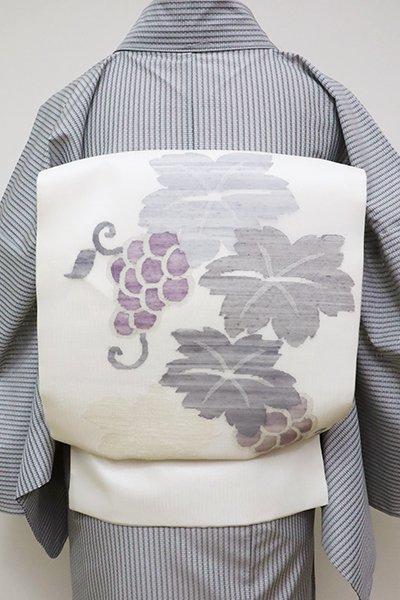 銀座【K-6252】紗紬地 すくい織 開き名古屋帯 白色 葡萄の図