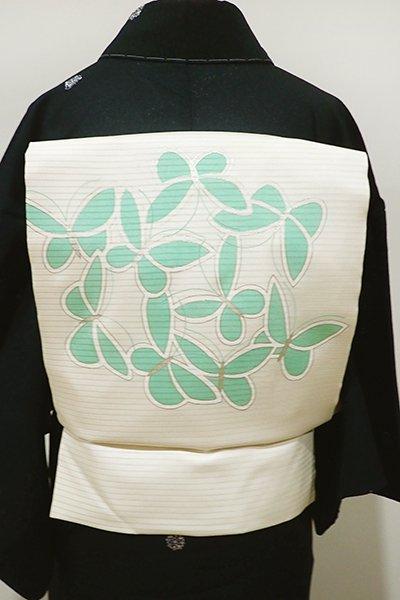 あおき【K-4828ー2】絽塩瀬 染名古屋帯 白練色 蝶の図