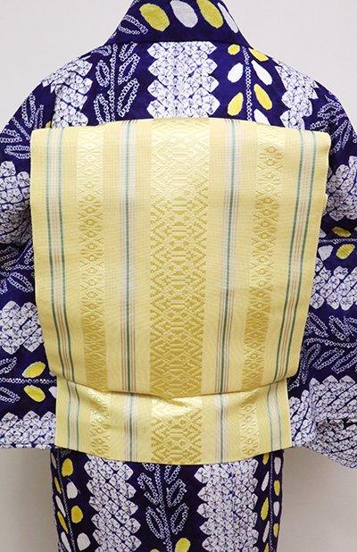あおき【K-6256】博多織 紗献上 八寸名古屋帯 黄支子色