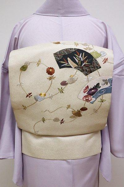 WEB限定【L-4589】夏 総刺繍 袋帯 扇面に菊や水辺の風景