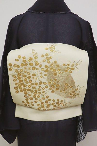 WEB限定【L-4593】ぎをん齋藤製 二部式 紗 袋帯 砥粉色 萩に月の図(畳紙付)