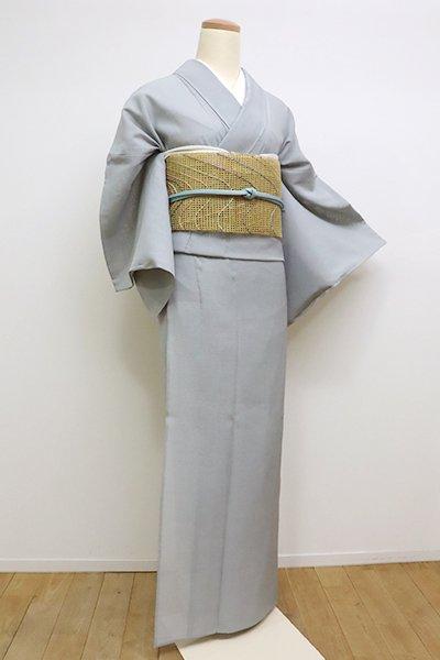 あおき【A-2885】東郷織物製 本場夏大島紬 灰青色系 微塵格子 (反端付)